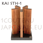 Magnetic block support KAI STH-1 with black slate stone base and 5 magnetic red wooden columns to place 10 knives (furnished without knife)