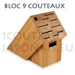 11-slots Bamboo storage knife block with holes for 9 knives 1 sharpening steel and kitchen shears