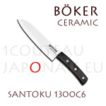 BOKER Santoku ceramic knife with 15,6cm white ceramic blade ebony handle (ref. 1300C6)