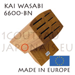 KAI WASABI oak Block 6600BN for 8 japanese knives