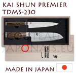 Santoku Set TDMS230 of KAI japanese knives - SHUN PREMIER series - TDM-1701 UNIVERSAL knife and SANTOKU TDM-1702 - hammered Damascus steel blades