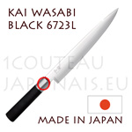 KAI traditional japanese knives - WASABI BLACK series - 6723L SLICING knife