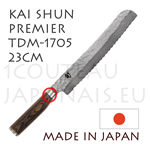 KAI Bread japanese knife - TDM1705 SHUN PREMIER series - Damascus hammered steel blade