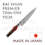 KAI japanese knives - TDM1701 SHUN PREMIER series - UNIVERSAL knife - hammered Damascus steel blade