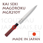 KAI traditional japanese knives - MGR-210Y SEKI MAGOROKU RED WOOD series  YANAGIBA slicing knife for sushi and sashimi