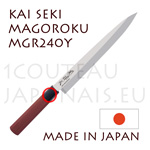 KAI traditional japanese knives - MGR-240Y SEKI MAGOROKU RED WOOD series  YANAGIBA slicing knife for sushi and sashimi