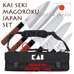 KAI JAPAN SET - Set of 5 KAI traditional japanese knives SEKI MAGOROKU RED series 100P peeler + 155D deba + 170S santoku + 165N nakiri + 210Y yabagiba + GRATIS bag