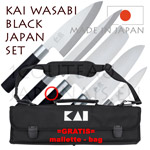 KAI JAPAN SET - Set of 5 KAI traditional japanese knives WASABI-BLACK series 6710P peeler + 6715D deba + 6716S santoku + 6716N nakiri + 6721Y yabagiba + GRATIS bag