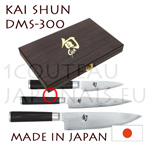 DMS300 KAI 3 japanese knives Boxed gift set - SHUN series - DM0700 +DM0701 +Chef=DM0706 - Damascus steel blades