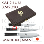 KAI 3 japanese knives DMS-310 Boxed gift set - SHUN series - DM0700 +DM0701 +Santoku=DM0702 - Damascus steel blades