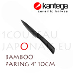 "BAMBOO - KANTEGA Paring ceramic knife with 4"" black ceramic blade"