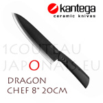 "DRAGON - KANTEGA Chef ceramic knife with 8"" black ceramic blade"