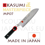 KASUMI japanese knives - MASTERPIECE series - SANTOKU knife MP07 - Damascus VG10 steel blade and micarta handle