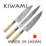 KIWAMI japanese set with 3 knives Damas 33 layers - Poplarwood handle  SANTOKU 18,7cm + GYUTO 20,9cm + HAMKIRI 24,5cm
