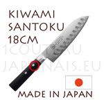 KIWAMI - SANTOKU japanese knife scalloped Damas blade 33 layers - Pakkawood handle