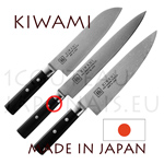 KIWAMI japanese set with 3 knives Damas 33 layers - Pakkawood handle  SANTOKU 18cm + GYUTO 20,2cm + HAMKIRI 24,5cm