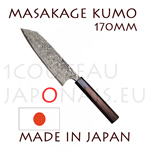 Masakage Kumo: 170 mm BUNKA japanese knife - VG10 stainless steel 61-62 Rockwell - octogonal rosewood handle and black pakka wood bolster