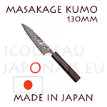 Masakage Kumo: 130 mm PETTY japanese knife - VG10 stainless steel 61-62 Rockwell - octogonal rosewood handle and black pakka wood bolster