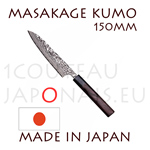 Masakage Kumo: 150 mm PETTY japanese knife - VG10 stainless steel 61-62 Rockwell - octogonal rosewood handle and black pakka wood bolster