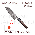 Masakage Kumo: 165 mm SANTOKU japanese knife - VG10 stainless steel 61-62 Rockwell - octogonal rosewood handle and black pakka wood bolster
