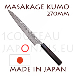 Masakage Kumo: SUJIHIKI 270 mm slicing japanese knife - VG10 stainless steel 61-62 Rockwell - octogonal rosewood handle and black pakka wood bolster