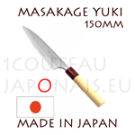 Masakage Yuki: 150 mm PETTY japanese knife - carbon steel -white paper steel- 62-63 Rockwell clad stainless - oval magnolia handle and red pakka wood bolster