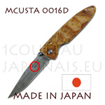 Japanese pocket knife MCUSTA 0016D - liner lock - DAMAS VG10 steel blade with Quince wood handle