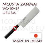 MCUSTA Zanmai 3P series japanese hocho - USUBA VG-10 steel blade and laminated pakkawood handle with nickel-silver ring