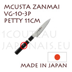 MCUSTA Zanmai 3P series japanese hocho - 11cm PETTY VG-10 steel blade and laminated pakkawood handle with nickel-silver ring