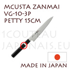 MCUSTA Zanmai 3P series japanese hocho - 15cm PETTY VG-10 steel blade and laminated pakkawood handle with nickel-silver ring