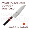 MCUSTA Zanmai 3P series japanese hocho - SANTOKU VG-10 steel blade and laminated pakkawood handle with nickel-silver ring