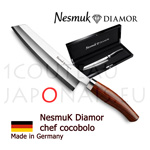 NESMUK DIAMOR Chef knife - stainless blade with hollow ground on both sides - solid silver collar and Cocobolo handle - comes with sheath and splendid black lacquered wooden box