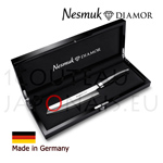 NESMUK DIAMOR Chef knife with black lacquered box - hollow ground on both sides - solid silver collar and stainless blade