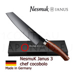 Luxury box Chef knife NESMUK Janus 3.0 - Cocobolo handle with solid silver collar  stainless blade with hollow ground on one side (concave)