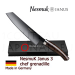 Luxury box Chef knife NESMUK Janus 3.0 - Grenadille handle with solid silver collar  stainless blade with hollow ground on one side (concave)