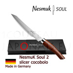Slicer knife NESMUK Soul 2 - Cocobolo handle with solid silver collar and stainless blade - delivered with a luxury box