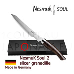 Slicer knife NESMUK Soul 2 - Grenadille handle with solid silver collar and stainless blade - delivered with a luxury box