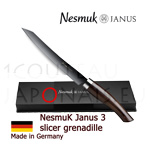 Luxury box Slicer knife NESMUK Janus 3.0 - Grenadille handle with solid silver collar - stainless blade