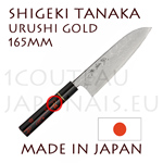 SANTOKU URUSHI japanese knife from Shigeki Tanaka cutler  Hand forged from carbon steel -non stainless steel-