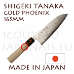 SANTOKU japanese knife from Shigeki Tanaka cutler  Hand forged from carbon steel -non stainless steel- damassed 2x8 layers Gold Poenix decorated bolster