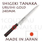 Sashimi/yanagi-ba URUSHI japanese knife from Shigeki Tanaka cutler  Hand forged from carbon steel -non stainless steel-