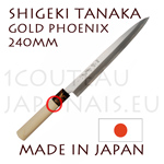 SASHIMI japanese knife from Shigeki Tanaka cutler  Hand forged from carbon steel -non stainless steel- Gold Poenix decorated bolster