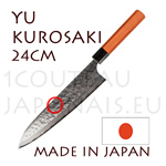 Yu Kurosaki: GYUTO 24cm japanese knife MEGUMI series - DAMAS VG10 stainless steel 61 Rockwell - octogonal cherry handle and black pakka wood bolster