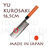 Yu Kurosaki: 165 mm NAKIRI japanese knife MEGUMI series - DAMAS VG10 stainless steel 61 Rockwell - octogonal cherry handle and black pakka wood bolster