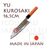 Yu Kurosaki: 165 mm SANTOKU japanese knife MEGUMI series - DAMAS VG10 stainless steel 61 Rockwell - octogonal cherry handle and black pakka wood bolster