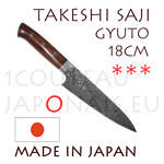 Takeshi Saji: GYUTO 18cm chef japanese knife - R2(SG2) 63 Rockwell DAMAS steel - oval ironwood handle with decorative rivets and polished stainless bolster