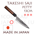 Takeshi Saji: PETTY 13cm japanese knife - R2(SG2) 63 Rockwell DAMAS steel - hexagonal Rosewood handle with black pakka wood bolster