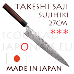 Takeshi Saji: SUZIHIKI 27cm slicing japanese knife - R2(SG2) 63 Rockwell DAMAS steel - hexagonal Rosewood handle with black pakka wood bolster